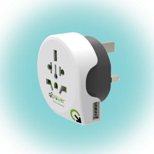 "Q2 power Utazóadapter, ""World to UK USB"" (1.100130)"
