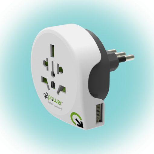 "Q2 power Utazóadapter ""World to Italy USB"" (1.100190)"