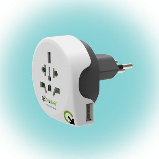 """Q2 power Utazóadapter """"World to Switzerland USB"""" (1.100210)"""