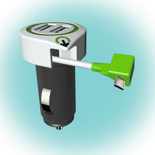 """Q2 power Autós USB töltő """"Triple USB Car Charger Micro USB Connector"""" (3.100110)"""