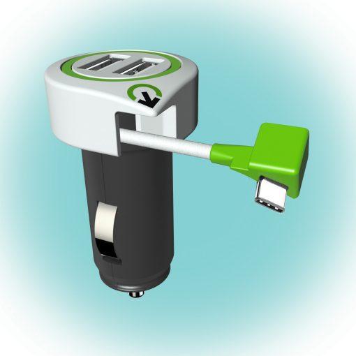 "Q2 power Autós USB töltő ""Triple USB Car Charger USB Type C Connector"" (3.100130)"