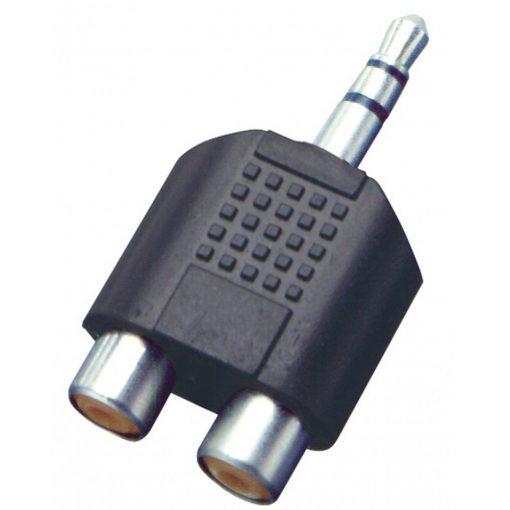 Audió átalakító, 3,5 mm sztereó dugó-2xRCA alj (AC 17)