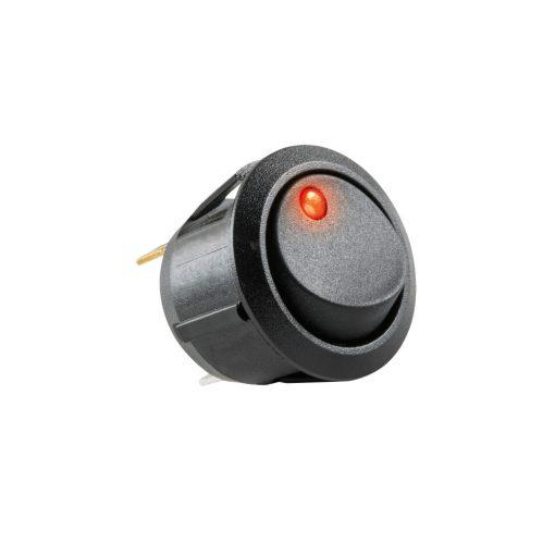 Világítós billenőkapcsoló, 12V, 1ák, piros (AK 11)