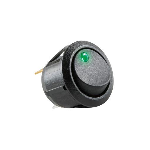 Világítós billenőkapcsoló, 12V, 1ák, zöld (AK 12)