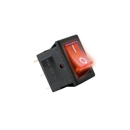 Világítós billenőkapcsoló, 12V, 1ák, piros (AKV 01)