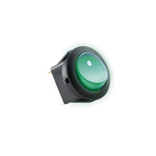 Világítós billenőkapcsoló, 12V, 1ák, zöld (AKV 12)