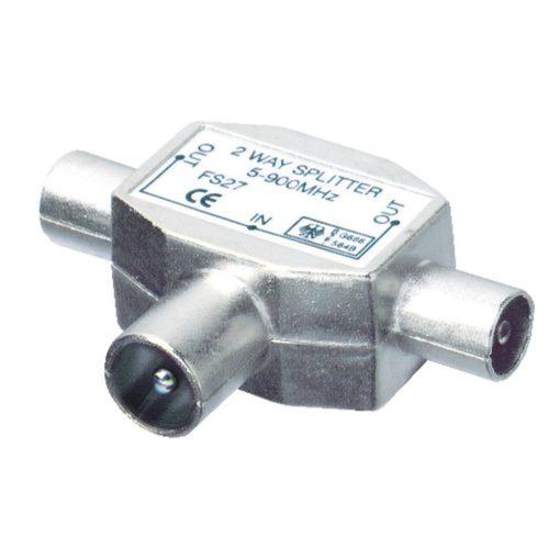 Koax elosztó, 1 dugó - 2 aljzat, fém (FS 28)