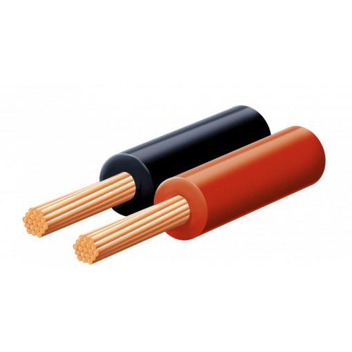 Hangszóróvezeték, piros-fekete, 2x0,15mm, 100m/tekercs (KL 0,15)