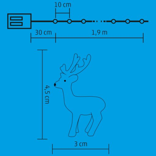Micro LED-es rénszarvas fényfüzér (ML 22/WW)