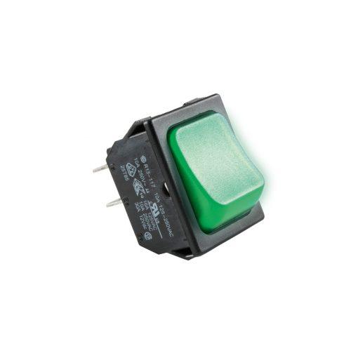 Világítós billenőkapcsoló, 250V, 2ák, zöld (STV 02)