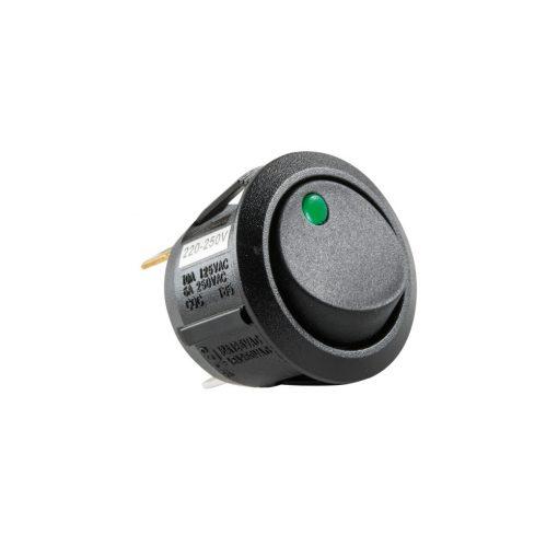Világítós billenőkapcsoló, 250V, 1ák, zöld (STV 12)