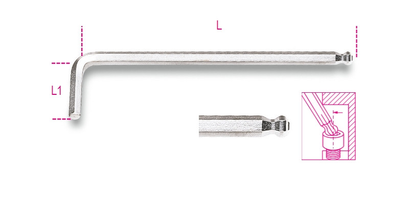 BETA 96BPC 2 Hajlított gömbfejű imbuszkulcs, krómozott (BETA 96BPC/2)