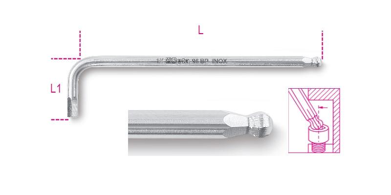 BETA 96BPINOX-AS 5/16 hajlított hatlapfejű belső kulcs gömbölyű szélekkel rozsdamentes acélból (BETA 96BP INOX/AS 5/16)
