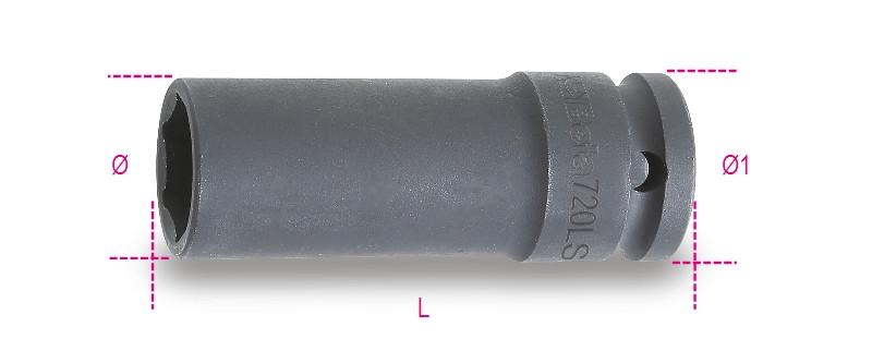 BETA 720LS 12 Gépi dugókulcs csavarbehajtóhoz hosszú, keskeny kivitel foszfátozott (BETA 720LS/12)