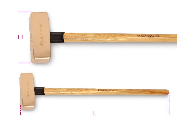 BETA 1381BA 5000 szikramentes ráverő kalapács, fanyéllel (BETA 1381BA/5000)