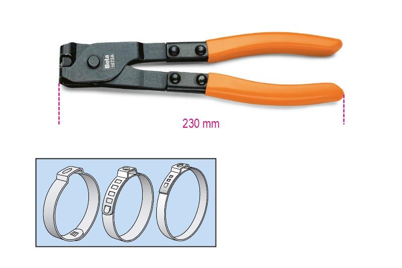 BETA 1473A OETIKER® szemesbilincs összehúzó fogó, barnított, PVC-bevonatú szárral (BETA 1473A)