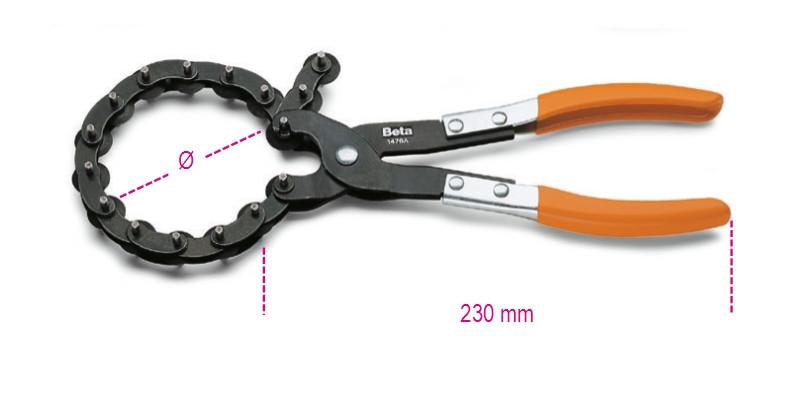 BETA 1476A Kipufogócsővágó fogó, PVC-bevonatú szárral (BETA 1476A)