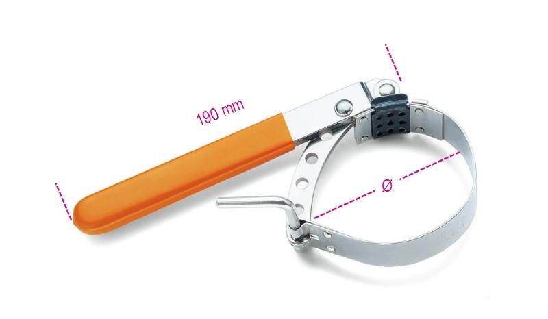 BETA 1492/2 Állítható acélpántos olajszűrőleszedő, nikkelezett, PVC-bevonatú nyéllel (BETA 1492/2)
