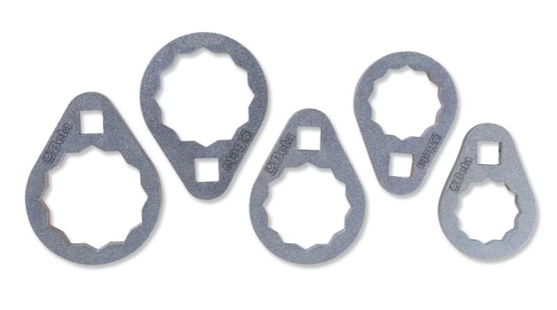 BETA 1493B/S5 5 darabos sokszögű olajszűrő leszedő kulcs készlet nehezen hozzáférhető helyekhez (BETA 1493B/S5)