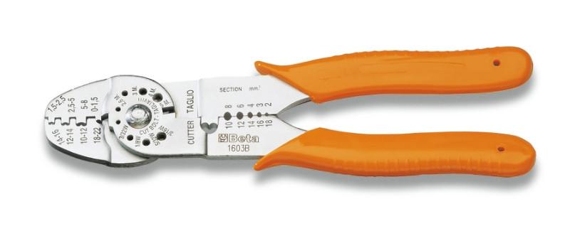 BETA 1603B Saruzófogó nem szigetelt kábelsarukhoz, nyitott modell, standard modell, krómozott, műanyag szárral (BETA 1603B)