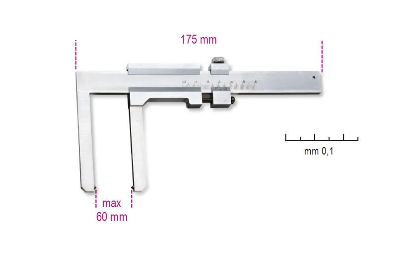 BETA 1650FD Tolómérő féktárcsához, rozsdamentes acélból, pontosság 0.1 mm (BETA 1650FD)