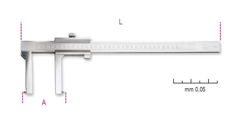 BETA 1650FT/2 Tolómérő dobfékhez, rozsdamentes acélból, pontosság 0.05 mm (BETA 1650FT/2)
