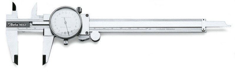 BETA 1652 Órás tolómérő nemesített acélból kemény műanyag dobozban, pontosság 0.02 mm (BETA 1652)