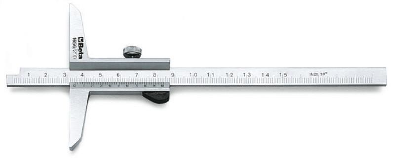 BETA 1656 200 Mélységmérő rozsdamentes acélból, tokban, pontosság 0.02 mm (BETA 1656/200)