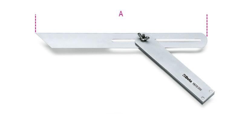 BETA 1672 Állítható szögsablon csúszó szárral, a szár és az alaplap acélból készült, krómozott (BETA 1672/300)