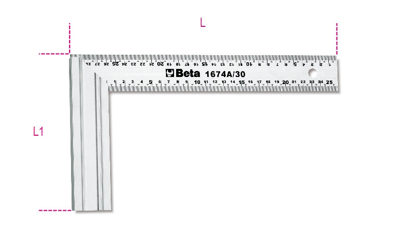 BETA 1674A 300 Asztalos derékszög, a szár acélból, az alaplap alumíniumból készült (BETA 1674A/300)